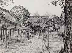 Artist - Itsuo Kiritani   Title - Yushima Jinja Shrine (湯島神社)   Dimensions - (21.5cm x 28.3cm)Year - 1992  Media - Pen and Ink on Paper   Exhibition - ANA InterContinental Tokyo  Nov. 9, 2015 - Feb. 9, 2016     Inquiry