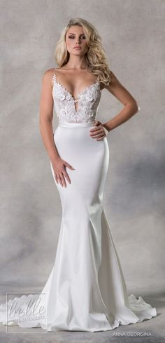 Anna Georgina 2019 Wedding Dresses Casablanca Bridal Collection - Judith Fitted sheath wedding dress with lace top and satin skirt | Plunging sweetheart neckline with straps bridal gown |   #weddingdress #weddingdresses #bridalgown #bridal #bridalgowns #w