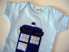 Tardis on Blue Onesie 1218 Months with Ecospun by pandawithcookie, $18.00 @candacenderic peacock :)