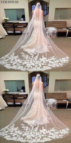 Hot Sales M Long Wedding Veils Cathedral Bridal Accessories Lace Edge Bridal Veil With Comb Veu