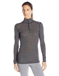 b05abf22867555 Ibex Merino Wool Womens Woolies 1 Long Sleeve Zip TNeck Striped Base Layer  Top BlackHeather Grey