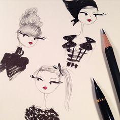 The Kuretake pen is deeelightful. #sketch #prada #hair @kuretakezig_usa