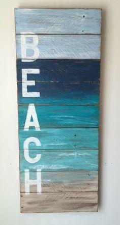 Beach sign painted on reclaimed wood. Perfect for coastal, beach, and nautical decor. #ocean #beachcondo #beachhouse #reclaimedwood #woodensign #ad