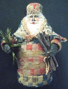 "Santa OOAK Primitive Folk Art Santa ""The Gatherer"" Original Design Handcrafted from an 1800's American Antique Coverlet on Etsy, $125.00"