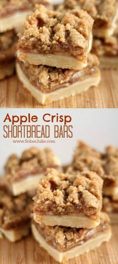 These apple crisp shortbread bars dessert recipe is the perfect fall dessert. Baked with fresh apples. Desserts The BEST Apple Crisp Shortbread Bars Recipe - Sober Julie dessert recipe Brownie Desserts, Mini Desserts, Just Desserts, Delicious Desserts, Desserts With Apples, Fun Deserts To Make, Recipes For Apples, Non Bake Desserts, Camping Desserts