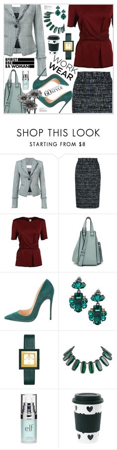 """""""60-Second Style: Work Wear"""" by moodboardsbyluna ❤ liked on Polyvore featuring Zimmermann, Estnation, Victoria Beckham, Loewe, Christian Louboutin, Saks Fifth Avenue, Tory Burch, Yves Saint Laurent, Old Navy and Miss Étoile"""