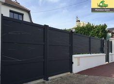 """De style contemporain, cet ensemble Portail aluminium Villa motorisé 3055 mm x 1800 mm, portillon et clôture est unique. Retrouvez notre gamme """"Personnalisable"""" en nos agences."""