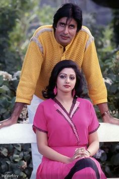 Amitabh Bachchan and Sridevi Bollywood Posters, Bollywood Photos, Indian Bollywood, Bollywood Fashion, Bollywood Couples, Bollywood Cinema, Bollywood Actors, Beautiful Girl Indian, Most Beautiful Indian Actress