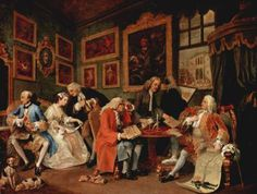 1743-1745: William Hogarth: Marriage à-la-mode (series of six) [Rococo; UK] Marriage à-la-mode is a series of six satirical oil paintings, each measuring 2.3 ft. tall by 2.9 ft. wide, by 18th Century English artist William Hogarth that the artist used as the basis for making engraved copper plates and ultimately paper prints.