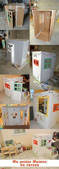Cardboard playhouse - maison en carton diy <<<< I would build this for me lol Projects For Kids, Diy For Kids, Crafts For Kids, Diy Projects, Cardboard Playhouse, Cardboard Toys, Cardboard Furniture, Cardboard Box Houses, Cardboard Kids House