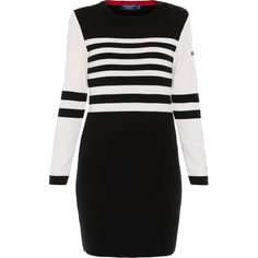 Saint James Valmeinier Black And White Striped Sweater Dress (2,045 BOB) ❤ liked on Polyvore featuring dresses, stripes, embroidered dresses, long sleeve sweater dress, long sleeve striped dress, black white stripe dress and striped dress