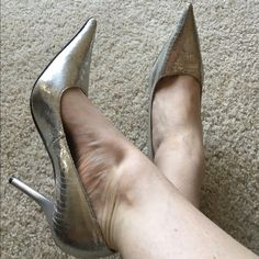 """Silver """"disco ball"""" like shoes size 9 fit like 9.5 Silver disco ball look pointy toe heels from Vanity worn once. Size 9 but fit more like a 9.5 in my opinion. Anne Michelle Shoes Heels"""