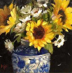 """Daily Paintworks - """"Sunflowers in White & Blue"""" - Original Fine Art for Sale - © Krista Eaton"""