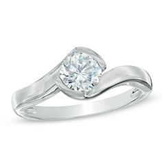 1 CT. Certified Diamond Solitaire Half Bezel Engagement Ring in 14K White Gold (I-J/I1)