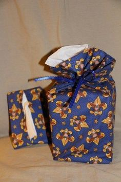 BSA Scout cotton fabric cube tissue cover gift bag & purse tissue holder set BLU #Handmade