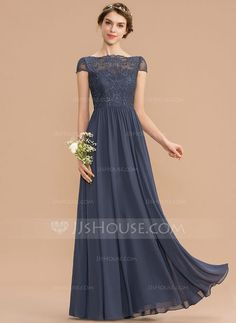 [US$ 126.00] A-Line Scoop Neck Floor-Length Chiffon Lace Bridesmaid Dress