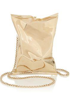 "Anya HindmarchCrisp Packet gold-tone clutch 15S Width 4¾"" / 12cm Height 6¾"" / 17cm Depth 2"" / 5cm $1,595"