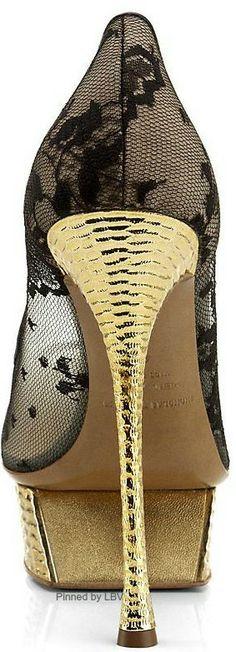 Nicholas Kirkwood Black Lace Pumps with Gold Heel Platform Spring 2014 by LBV Gold Sandals, Gold Heels, Black Lace Pumps, Number One Shoes, Next Shoes, Nicholas Kirkwood, Beautiful Shoes, Gorgeous Heels, Fashion Shoes