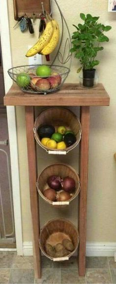 Build a produce storage stand with reclaimed wood and some woven baskets.