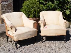 Unusual pair of low Scroll back chairs. Height: 76cm Width: 76cm Depth of seat: 46cm