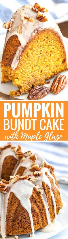 """This Spiced Pumpkin Bundt Cake is super moist and topped with a maple glaze and toasted pecans! A perfect dessert for the holidays that """"wow's"""" and is easy enough to make even if you aren't totally kitchen confident."""