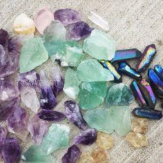 Amethyst, Calcite, Titanium Quartz and Sunstone