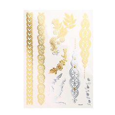 OOFAYZBL 1pc Flash Metallic Tattoo Silver Gold Waterproof Makeup Body Paint 3D Temporary Tattoo Sticker YH-077. Tattoo sticker use green ink and glue, is harmless to human body. Paste the successful design with waterproof and sweat-proof function, will not fall off in the shower, but do not rinse with hot water for too long, should not be rubbed with. Different parts of the pattern paste, duration of different patterned after 3-5 days began to fall under normal usage conditions, feet and...