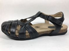 Earth Origins Tipper Black Leather Fisherman Sandals Women's Sz 8 M New #Earth #Slingbacks #Casual