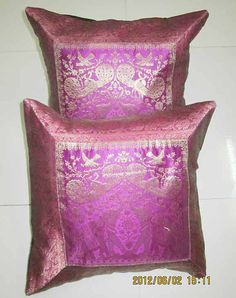 indian 2 pcs silk cushion cover. throw pillow by believeinfashion, $10.00