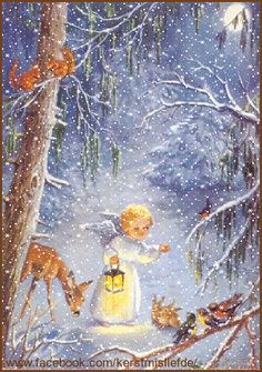 Little angel with a lantarn walking in the woods. The animals are gathering and watching her. I added falling snow and a border to it. DF.