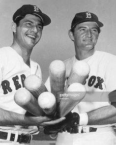 Swinging mighty bats for the Boston Red Sox are Carl Yastrzemski (left), two-time defending American League batting champ, and Ken Harrelson, the majors' top RBI man in 1968, as they get set for a workout at the team's spring training camp here. Yaz was the team's only .300 hitter last season with a .301. Harrelson slammed 35 homers to go with his 109 runs batted in.