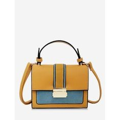 1f162b536718 Color Block Handbag with Strap  Tote  Bags  Fashion  Womens  Bags  Yellow