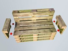 How to make a bank with pallets step by step 5 diy pallet, diy pallet sofa, diy pallet bed, diy pall Diy Pallet Couch, Pallet Patio Furniture, Diy Furniture, Pallette Furniture, Design Furniture, Furniture Makeover, Pallets Garden, Wood Pallets, Pallet Benches