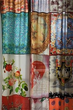 Vintage scarves sewn together to make a curtain..