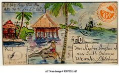 Decorated WWII letter envelope sent to his wife, from the war zone, by WWII soldier, Stephen Douglas. Mail Art Envelopes, Collage Techniques, Envelope Art, Looks Vintage, Beach Art, Art Sketchbook, Oeuvre D'art, Watercolor Illustration, Les Oeuvres