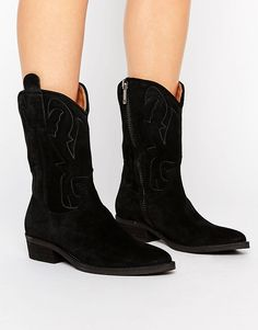 Women Selected Femme Alicia Suede Boot Boots Black Factory Outlet