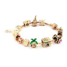 18 K oro del encanto del grano ángel de cristal del amor del corazón con torre del castillo cabido los granos mujeres Pandora serpiente brazalete de la pulsera de la joyería DIY SL1670(China (Mainland))