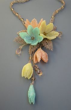 Spring Blossom beaded pendant OOAK by Elinawonderland