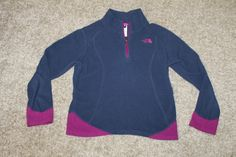The North Face Girls Navy Blue Purple 1/2 Zip Fleece Pullover 10/12 Youth Medium #TheNorthFace #FleecePullover #Everyday