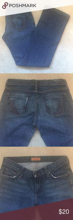 """James Jeans James Jeans Dry Aged Denim. Size 29. Made in USA. 98% cotton, 2% Lycra. 31.5"""" inseam. Waist measures 15.5"""" when laid flat. Great condition!  Factory distressed look around pockets.  Very minimal wear around hem. James Jeans Jeans Boot Cut"""