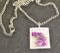 LOVE 44 Cent USA Postage Stamp Purple Flowers on by ChezChani