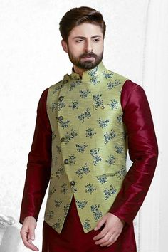 Woven Art Silk Jacquard Nehru Jacket in Light Olive Green Nehru Jacket For Men, Nehru Jackets, Indian Men Fashion, Mens Fashion Wear, Kids Fashion, Indian Groom Dress, Indian Wear, Modi Jacket, Kurta Pajama Men