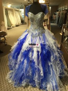 Wholesale 2017 Sweet 15 Dress White/Royal Quinceanera Dress Ruffled Fully Beaded XV Dress