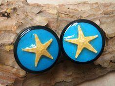 "Real Starfish plugs 1"" black areng wood double by AsanaNaturalArts, $30.00"