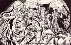 The party battles two Yochlol, the amorphous handmaidens of Lolth who can assume many forms. (From AD&D module Q1 Queen of the Demonweb Pits, TSR, 1980.)