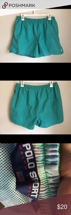 Polo Ralph Lauren turquoise shorts Polo Ralph Lauren turquoise swim shorts. Can be born as regular shorts. Cotton. Polo by Ralph Lauren Shorts