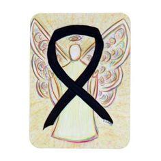 Black Awareness Ribbon Angel Art Custom Magnet
