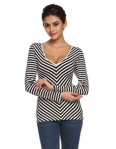 Dmart7deal; Long Sleeve T-Shirts V Neck Bodycon Striped T-Shirt Tops Plus Size