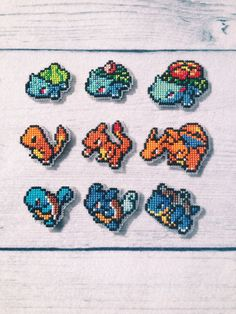 Cross stitch Pokemon Starters by Roxanne Proulx