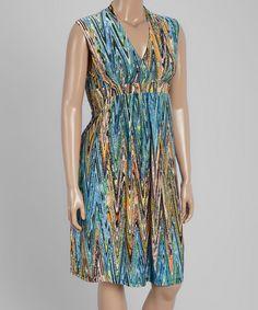 Teal Zigzag Surplice Dress - Plus by GLAM #zulily #zulilyfinds